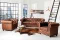 Hochwertiges Chesterfield Sofa 2-Sitzer vintage braun echtes Sattelleder