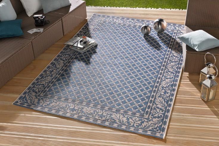 eleganter in outdoorteppich lotus royal 160x230 cm blau lotus summer collection riess. Black Bedroom Furniture Sets. Home Design Ideas