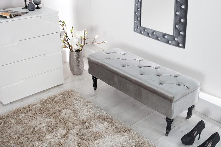 edle design truhenbank boutique samt silbergrau sitzbank mit stauraum 110 cm riess. Black Bedroom Furniture Sets. Home Design Ideas