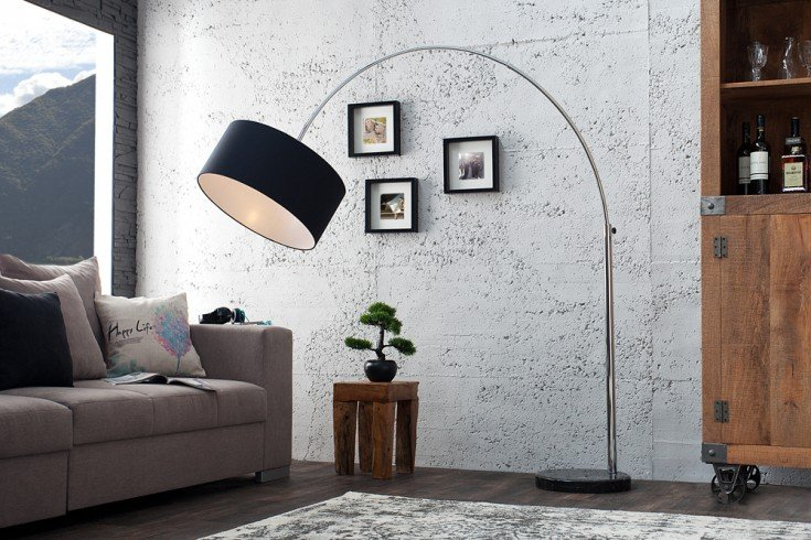 design bogenleuchte lounge deal mit schwarzem natur leinen schirm ausziehbar riess. Black Bedroom Furniture Sets. Home Design Ideas