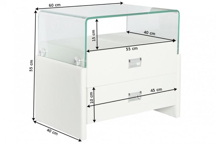 exklusiver nachtschrank manhattan wei 55 cm mit. Black Bedroom Furniture Sets. Home Design Ideas