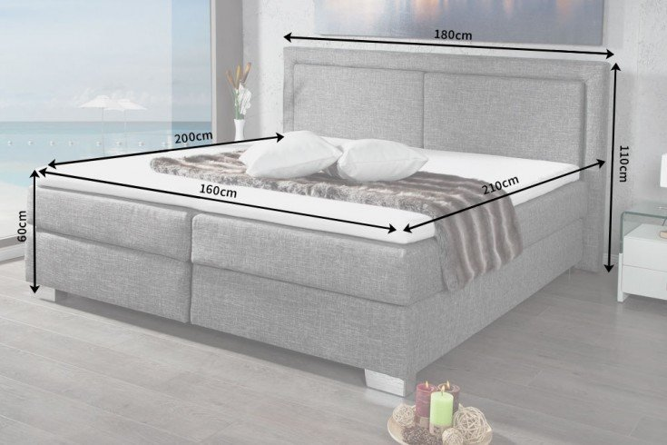 modernes boxspringbett queens 160x200 cm grau mit strukturstoff inkl matratze und topper. Black Bedroom Furniture Sets. Home Design Ideas