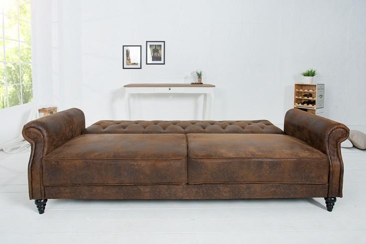 design sofa maison belle affaire 220cm antik braun mit schlaffunktion riess. Black Bedroom Furniture Sets. Home Design Ideas