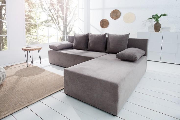 design ecksofa cubus soft baumwolle greige mit schlaffunktion und bettkasten riess. Black Bedroom Furniture Sets. Home Design Ideas