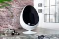 Design Lounge Sessel Sitzei SPACE EGG weiss schwarz