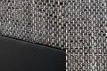 Design Ecksofa mit Hocker LOFT schwarz Strukturstoff grau Federkern OT beidseitig aufbaubar