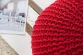 Design Strick Pouf LEEDS rot 50cm Hocker Baumwolle in Handarbeit Sitzkissen