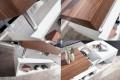 Moderner Design Couchtisch HOPE Original MCA Walnuss Hochglanz weiß 120cm