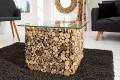 Außergewöhnlicher Treibholz Couchtisch FOSSIL Teak Elemente in Handarbeit gefertigt mit Glasplatte 60x60cm