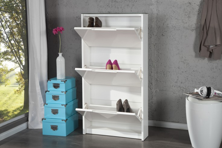 design schuhschrank supreme hochglanz wei 3 klappen. Black Bedroom Furniture Sets. Home Design Ideas