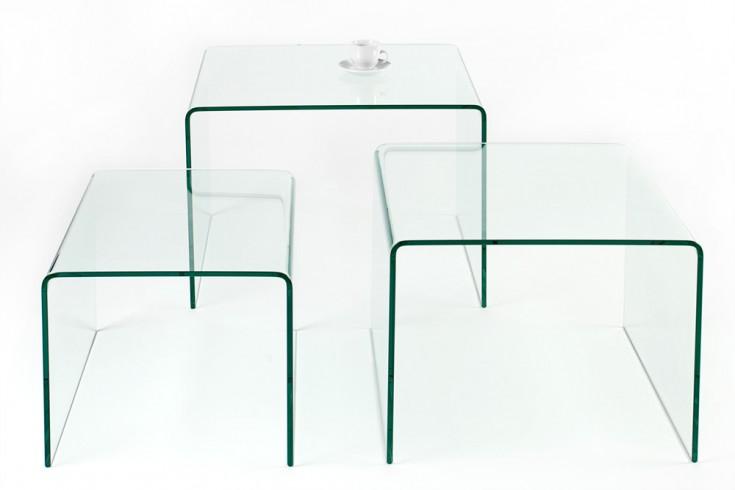 Design 3er Set Glas Couchtisch Ghost 60cm Beistelltische Transparent