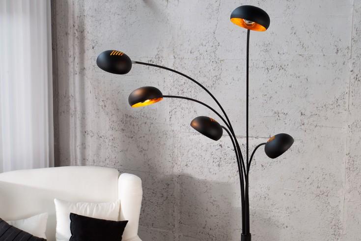 design bogenlampe five lights schwarz gold stehlampe. Black Bedroom Furniture Sets. Home Design Ideas