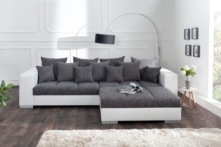 hocker zum sofa big sofa island wei grau strukturstoff. Black Bedroom Furniture Sets. Home Design Ideas