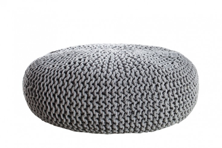 design strick pouf leeds xxl grau 70cm hocker baumwolle in. Black Bedroom Furniture Sets. Home Design Ideas
