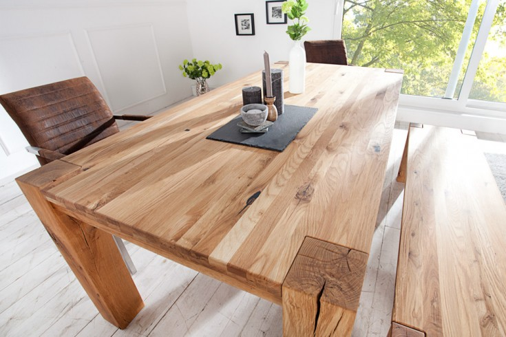 massiver esstisch wild oak 160cm ge lt hochwertige wildeiche made in eu riess. Black Bedroom Furniture Sets. Home Design Ideas