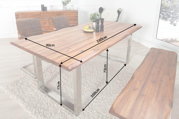Massiver Baumstamm Tisch GENESIS 160cm Akazie Massivholz Baumkante ...