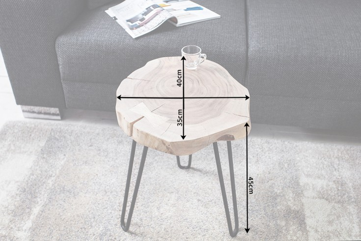Design Beistelltisch Goa Hocker Baumstamm Scheibe Akazie 4