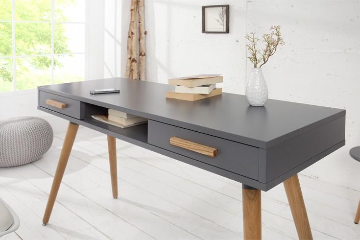 design retro schreibtisch scandinavia meisterst ck 120cm graphit echt eiche konsole riess. Black Bedroom Furniture Sets. Home Design Ideas