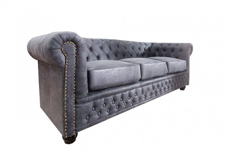 Magnificent Chesterfield 3Er Sofa 200Cm Antik Grau Mit Knopfheftung Und Federkern Riess Ambiente De Interior Design Ideas Greaswefileorg