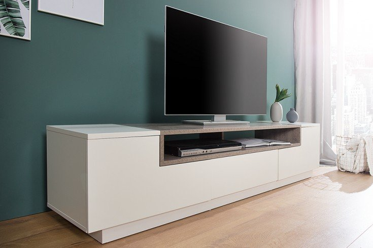modernes tv board lowboard empire 180cm edelmatt wei beton optik riess. Black Bedroom Furniture Sets. Home Design Ideas