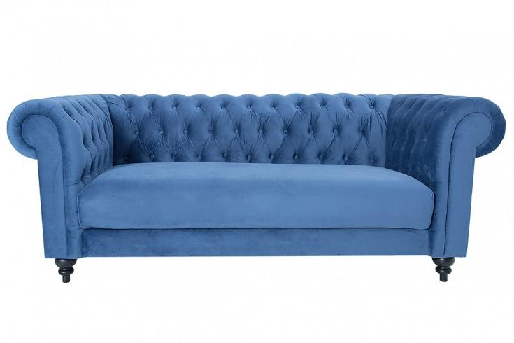 edles sofa chesterfield 200cm blau mit ziersteppung samt riess. Black Bedroom Furniture Sets. Home Design Ideas
