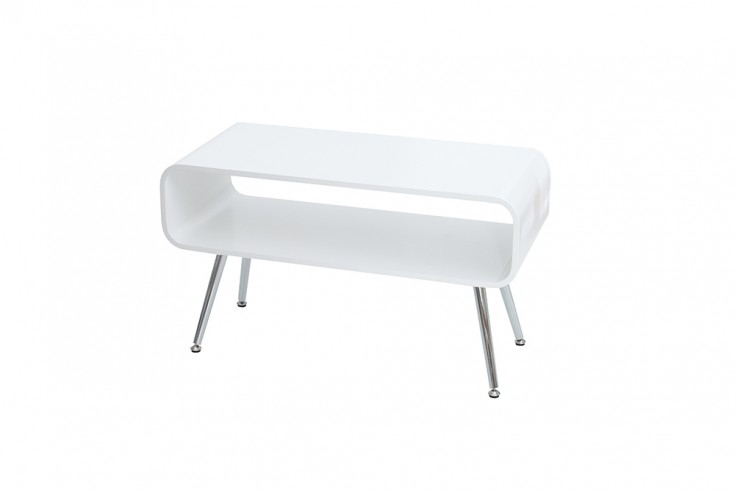 design couchtisch apollo wei chrom tv board retro riess. Black Bedroom Furniture Sets. Home Design Ideas