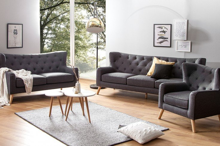 modernes design sofa hygge anthrazit 145cm 2 sitzer. Black Bedroom Furniture Sets. Home Design Ideas