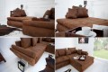 Design Ecksofa RODEO coffee used look mit Schlaffunktion