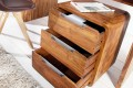 Massiver Rollcontainer CUBE 60cm Sheesham Palisander Holz Stone Finish 3 Schubladen