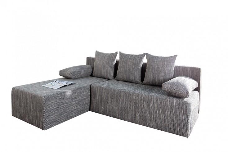 design ecksofa cubus strukturstoff hellgrau mit schlaffunktion und bettkasten riess. Black Bedroom Furniture Sets. Home Design Ideas