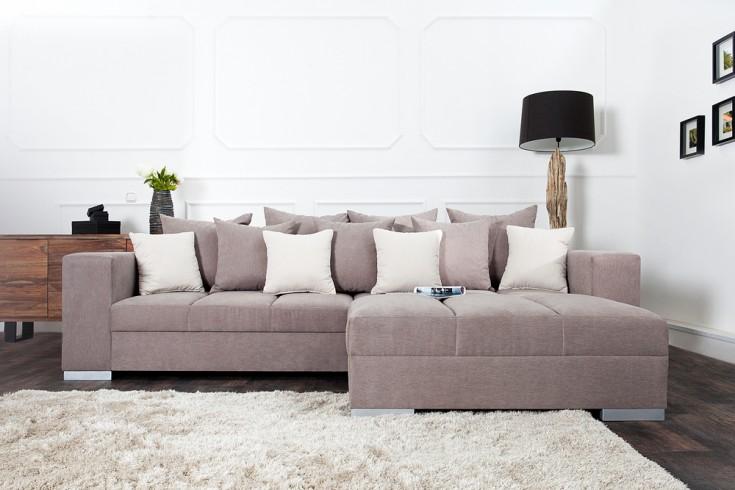 hocker zum sofa big sofa island soft baumwolle greige riess. Black Bedroom Furniture Sets. Home Design Ideas
