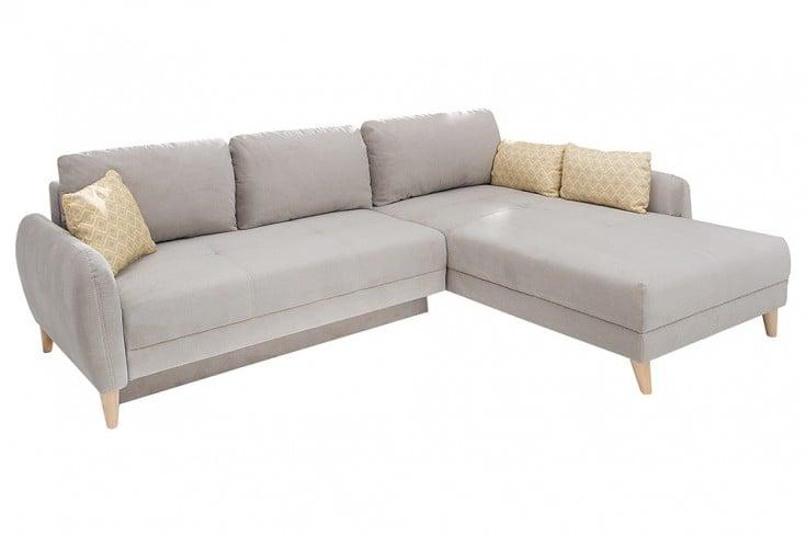 moderne wohnlandschaft scandinavia meisterst ck mit schlaffunktion beige beine aus massiver. Black Bedroom Furniture Sets. Home Design Ideas