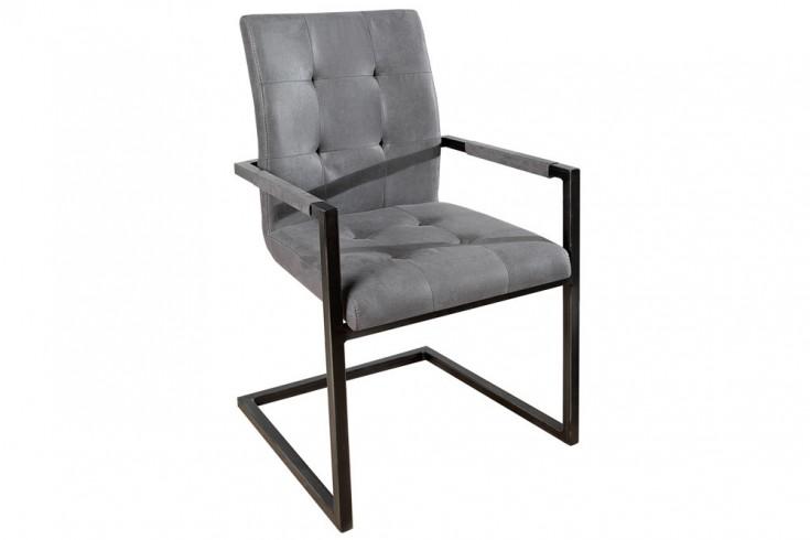 Design Freischwinger Stuhl OXFORD Mit Armlehne Antik Grau