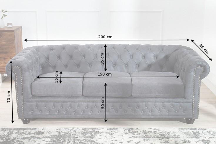 Edles Chesterfield 3er Sofa Grau im Antik Look Knopfheftung und ...