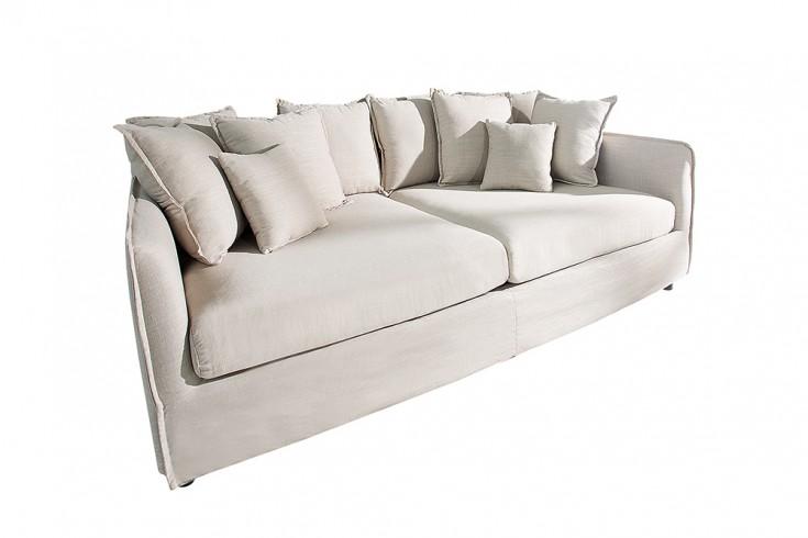 gro es hussensofa dreamer 230cm beige leinenstoff 3er sofa. Black Bedroom Furniture Sets. Home Design Ideas