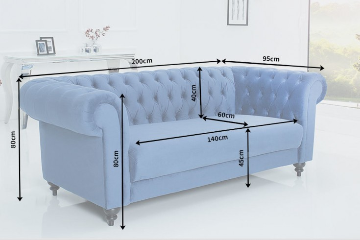 edles sofa chesterfield 200cm blau mit ziersteppung samt. Black Bedroom Furniture Sets. Home Design Ideas