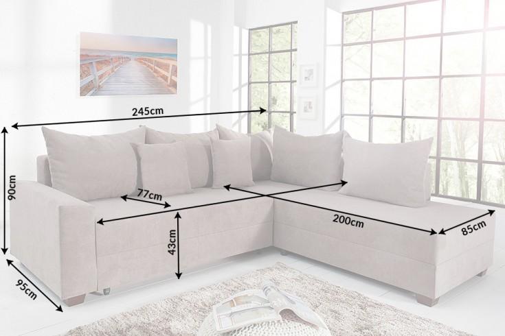 design ecksofa apartment soft baumwolle greige federkern. Black Bedroom Furniture Sets. Home Design Ideas