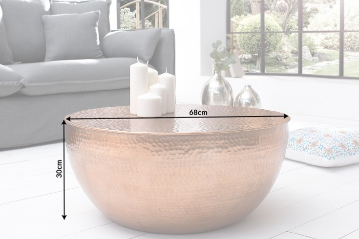 extravaganter couchtisch orient ii 70cm aluminium kupfer hammerschlag optik riess. Black Bedroom Furniture Sets. Home Design Ideas
