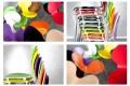 4er Set Stuhl FORM Designklassiker aus hochwertigem Formholz lila stapelbar