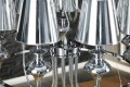 Riesiger Kronleuchter MANCINI XL silber chromfarben 15 Laternen Schirme