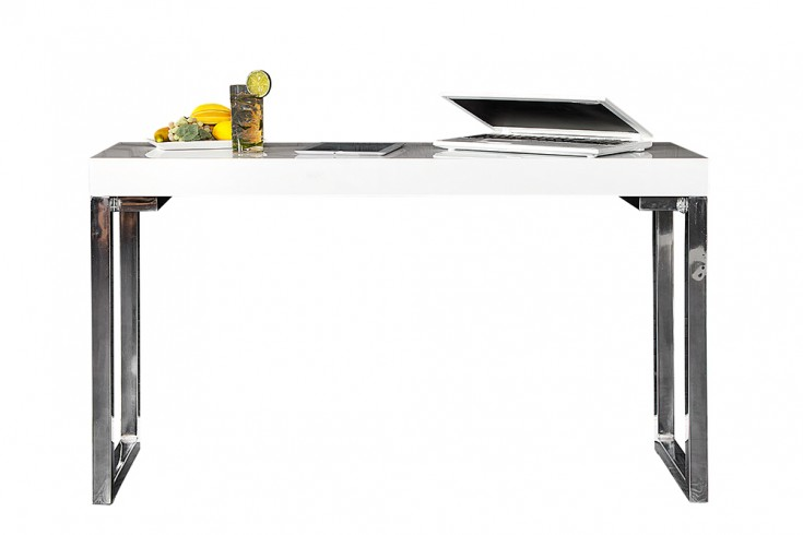 Design laptoptisch white desk 120x40cm hochglanz wei for Design laptoptisch