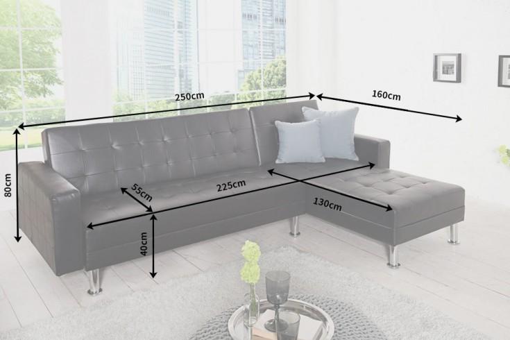 design ecksofa chaise lounge mit schlaffunktion schwarz beidseitig aufbaubar riess. Black Bedroom Furniture Sets. Home Design Ideas