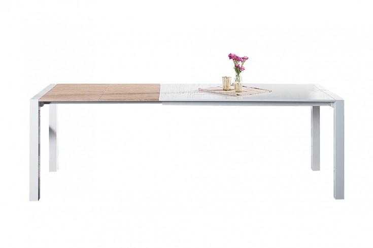 ausziehbarer design esstisch x7 wei hochglanz eiche 140 215 cm riess. Black Bedroom Furniture Sets. Home Design Ideas