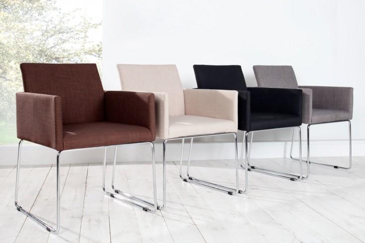Eleganter design stuhl livorno strukturstoff schwarz for Stuhl mit armlehne design