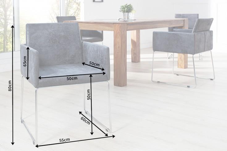 Eleganter design stuhl livorno mikrofaser antik grau for Design konferenzstuhl