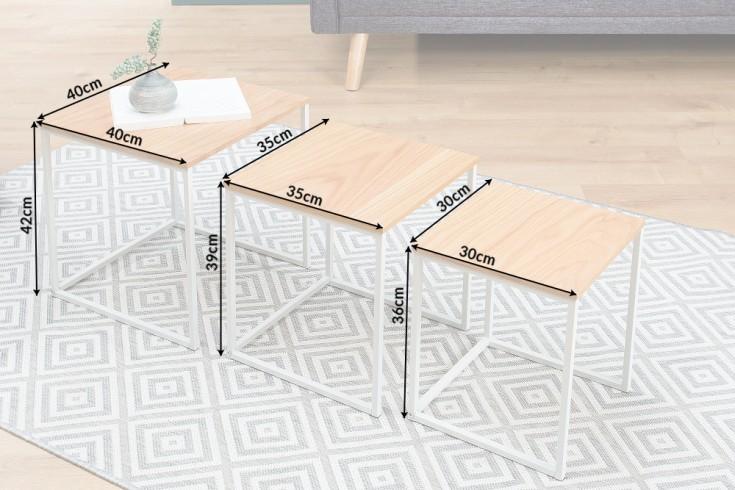 design beistelltisch 3er set fusion eiche wei riess. Black Bedroom Furniture Sets. Home Design Ideas