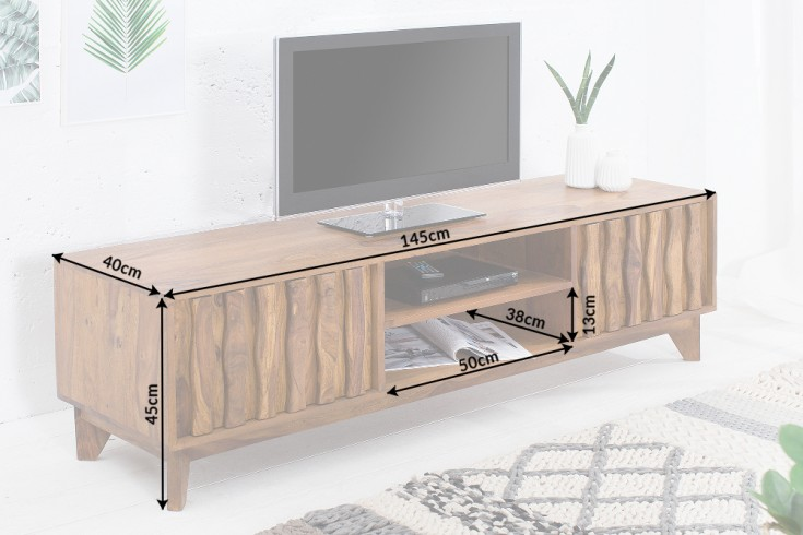 design tv board retro 145cm sheesham stone finish design klassiker riess. Black Bedroom Furniture Sets. Home Design Ideas