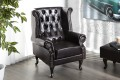 Design Chesterfield Ohrensessel braun