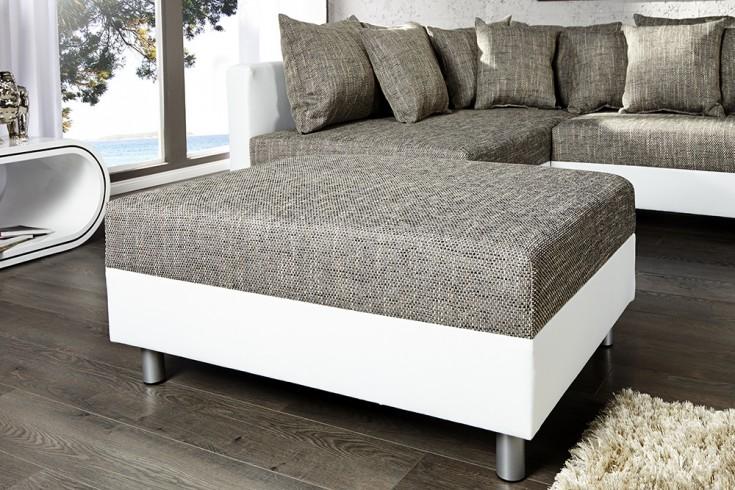 design sofa loft xxl mit hocker wei strukturstoff grau. Black Bedroom Furniture Sets. Home Design Ideas