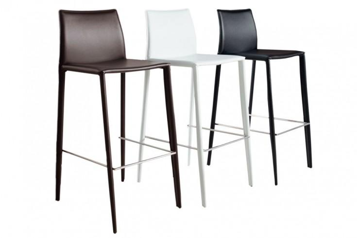 exklusiver design barstuhl milano echt leder wei riess. Black Bedroom Furniture Sets. Home Design Ideas